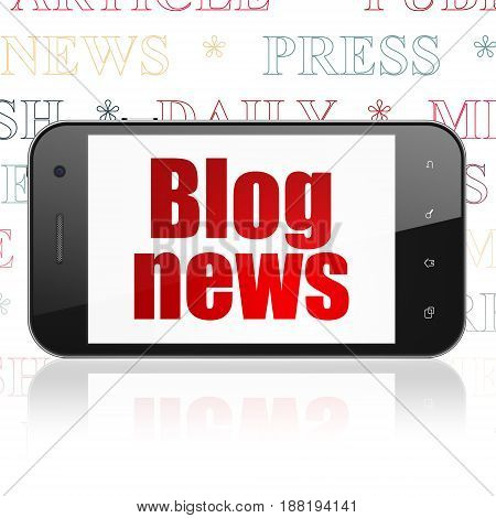 News concept: Smartphone with  red text Blog News on display,  Tag Cloud background, 3D rendering