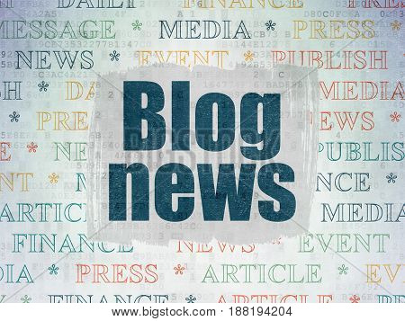 News concept: Painted blue text Blog News on Digital Data Paper background with   Tag Cloud
