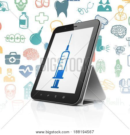 Healthcare concept: Tablet Computer with  blue Syringe icon on display,  Hand Drawn Medicine Icons background, 3D rendering
