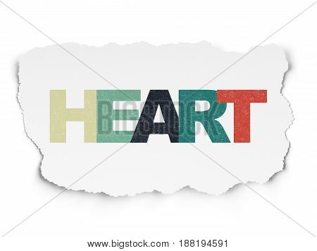 Medicine concept: Painted multicolor text Heart on Torn Paper background