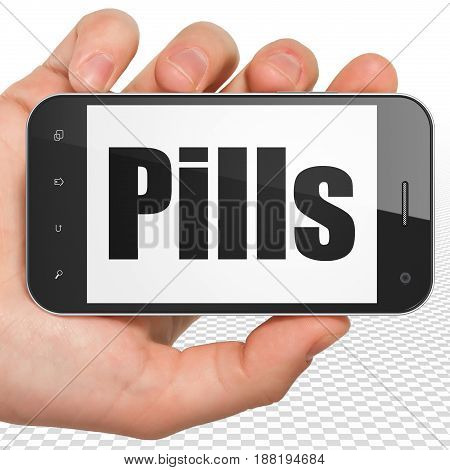 Health concept: Hand Holding Smartphone with black text Pills on display, 3D rendering