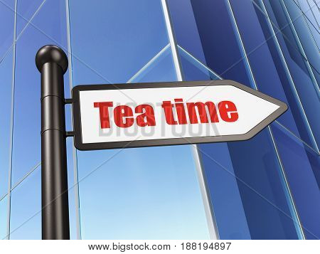 Timeline concept: sign Tea Time on Building background, 3D rendering