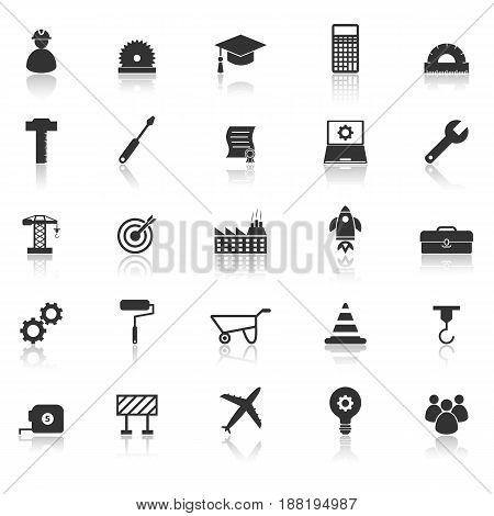Engineering icons with reflect on white background, stock vector