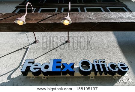 Park City UT May 12 2017: FedEx Office sign on top of the entrance to the store.