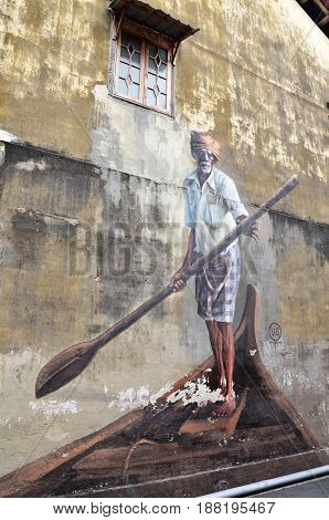 Public Street Art The Indian Boatman In Georgetown, Penang