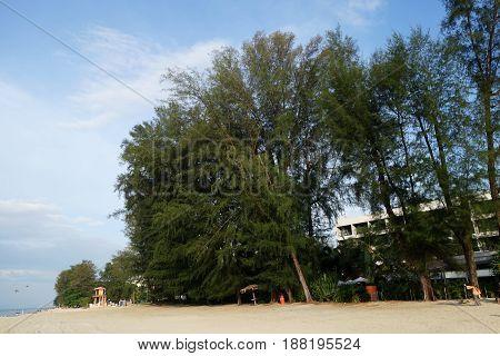 PENANG MALAYSIA- 29 DEC 2016: Unidentified tourist enjoying at the Batu Feringghi Beach located at Penang Malaysia