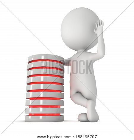 Man stands near futuristic server hard disk and database or battery cell. 3d render isolated on white. Web Hosting or cloud computing concept.