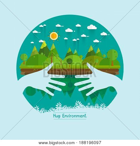 Eco friendly hands hug concept green tree.Environmentally friendly natural landscape.Vector illustration