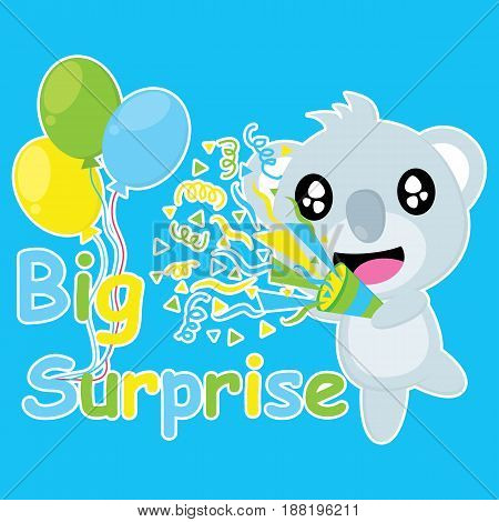 Cute koala brings confetti popper vector cartoon, Birthday postcard, wallpaper, and greeting card, T-shirt design for kids