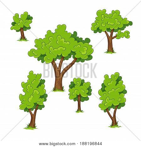 Set of different trees with grass, vector