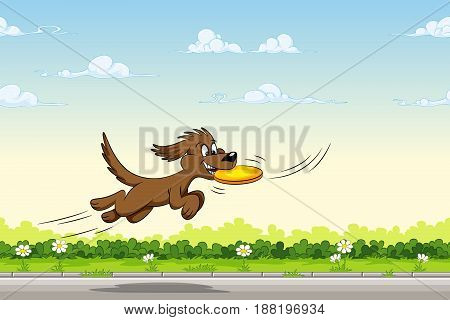 Dog catches a frisbee in the jump, vector illustration