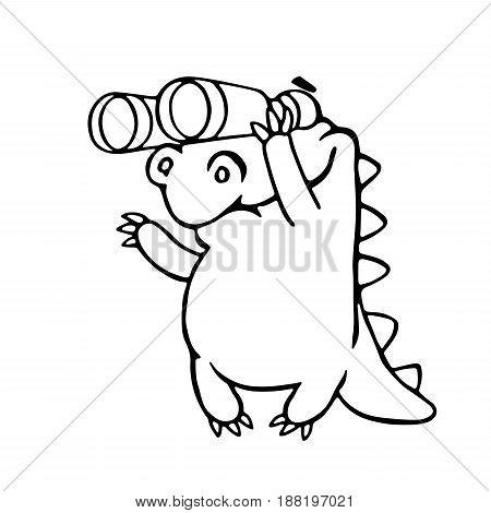 cute dragon looking through binoculars. vector illustration. cartoon character.