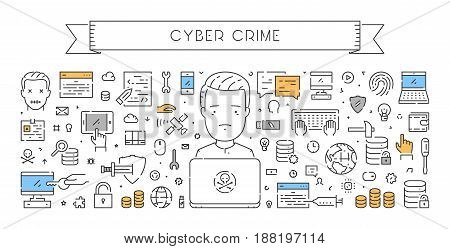 Line web banner for cyber crime. Modern linear concept for hacking.