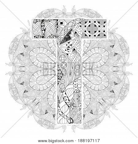 Hand-painted art design. Adult anti-stress coloring page. Black and white hand drawn illustration mandala with letter T for coloring book