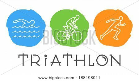 Vector line symbol for triathlon. Figures triathletes on white background. Swim, bike and run.