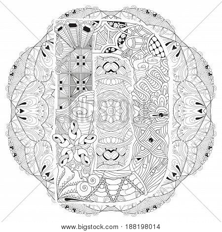 Hand-painted art design. Adult anti-stress coloring page. Black and white hand drawn illustration mandala with letter D for coloring book