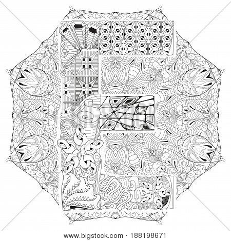 Hand-painted art design. Adult anti-stress coloring page. Black and white hand drawn illustration mandala with letter E for coloring book
