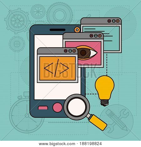 background with apps windows in development of ideas in smartphone vector illustration