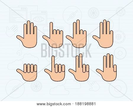 color background with set of gesture hands vector illustration