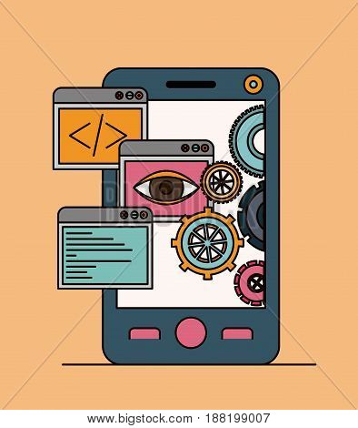 background with tools apps in smartphone vector illustration