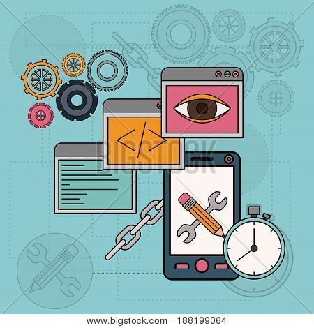 background with software tools for development of the construction in smartphone vector illustration