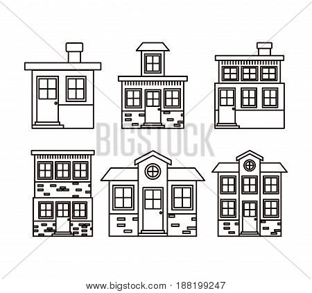 monochrome background with set of houses facades vector illustration