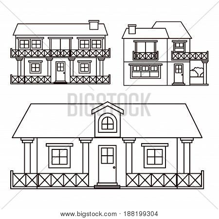 monochrome background with set of country houses facades vector illustration