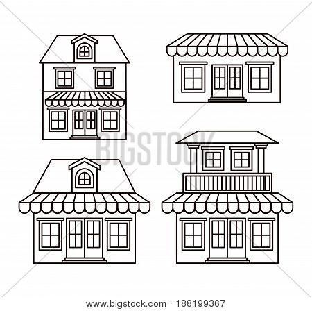 monochrome background with set of houses with sunshades vector illustration