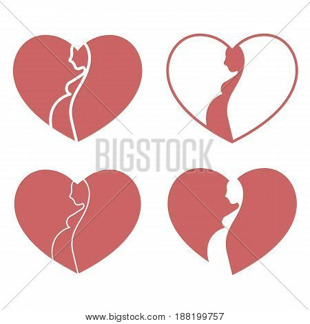 Beautiful set of heart shaped logos with pregnant woman silhouette.