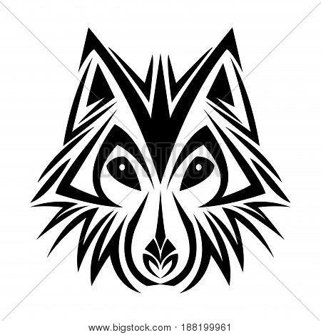 wolf tribal tatto animal creativity design vector illustraiton