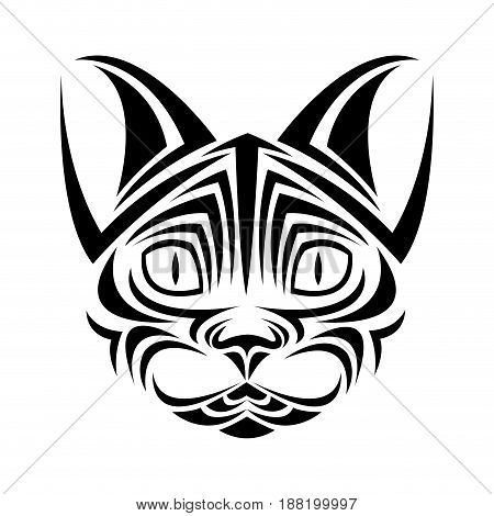 cat feline tribal tatto animal creativity design vector illustraiton
