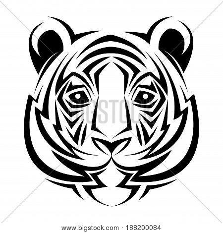 tiger tribal tatto animal creativity design vector illustraiton