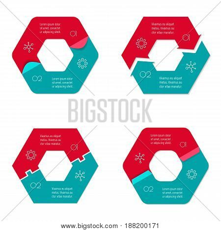 Set of four connected hexagonal infographic diagram. Circular charts with 2 options. Paper progress steps for tutorial with 2 parts. Isolated business concept sequence banners. EPS10 workflow layouts.