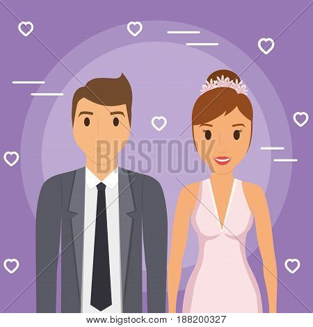 just married couple, cartoon icon over purple background. colorful design. vector illustration