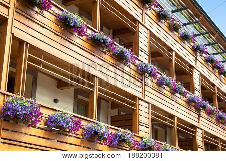 Flowers On Chalet Balcony