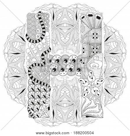 Hand-painted art design. Adult anti-stress coloring page. Black and white hand drawn illustration mandala with letter H for coloring book