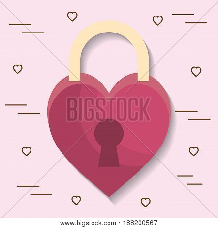 padlock in heart shape icon over pink background. colorful design. vector illustration