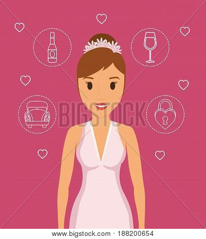 beautiful bride with wedding related icons over pink background. colorful design. vector illustration