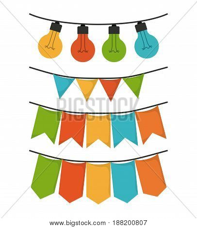 white background with set of party festoon and decorative lights vector illustration