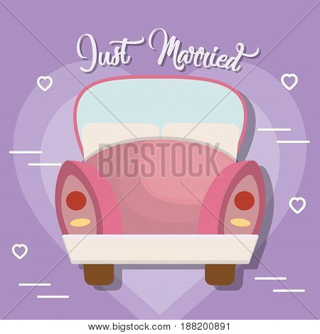 pink car icon over purple background. just married design. vector illustration