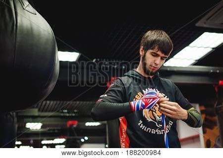 Russia, Novosibirsk- April16, 2017: Ahmed Aushev Professional Muay Thai And K1 Fighter. Male Boxer I