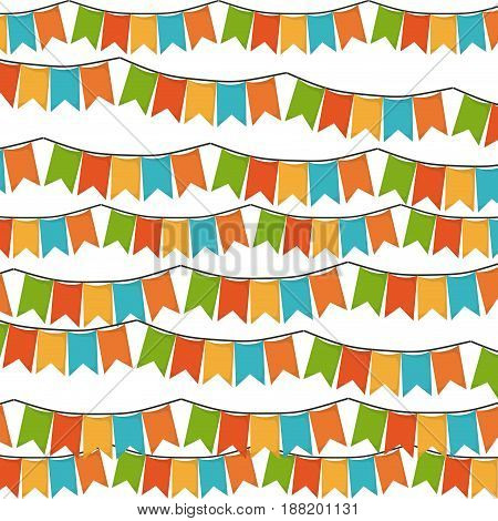 white background with set of colorful festoons in shape of square with peaks vector illustration
