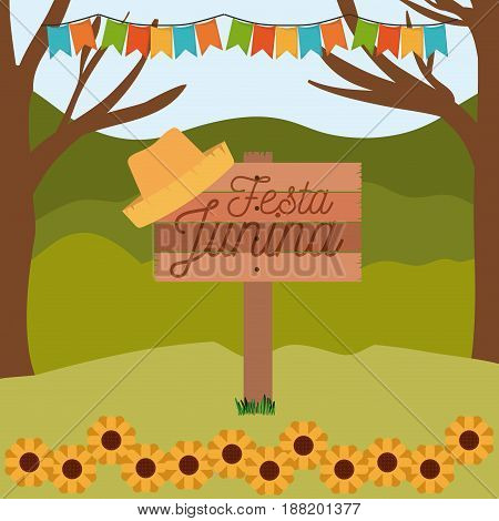 colorful poster festa junina in wooden fence with background outdoors with sunflowers and colored festoons vector illustration