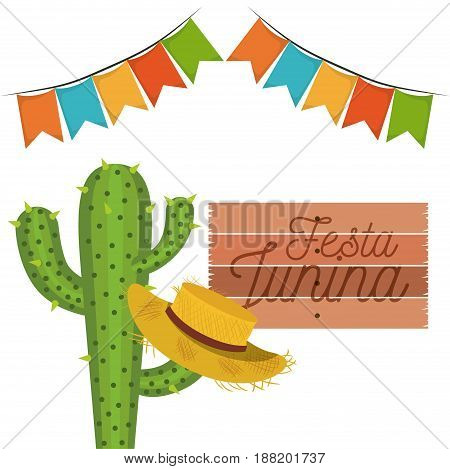 white background with cactus and hat celebration festa junina vector illustration