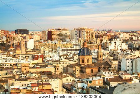 VALENCIA SPAIN - JANUARY 31 2016: Evening panoramic view of Valencia from a tower of Valencia cathedral Spain.