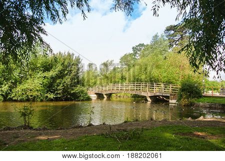 A bridge over a river at the park of Salisbury England UK.