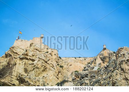 Santa Barbara Castle Over Mountain At Alicante City Near Mediterranean Sea, Costa Blanca, Spain.