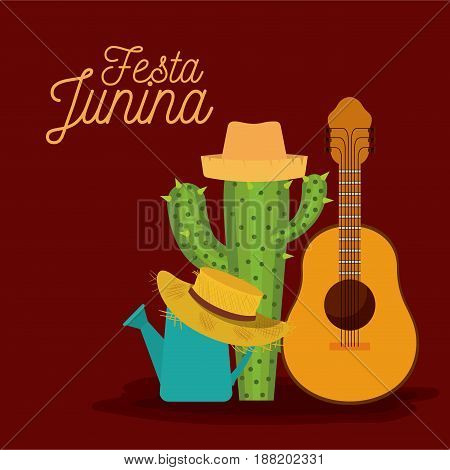 colorful poster festa junina with background of guitar and cactus and hat vector illustration