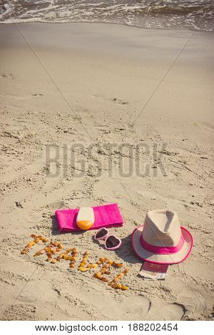 Vintage Photo, Inscription Travel, Accessories For Sunbathing And Passport With Currencies Euro At B