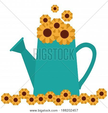white background with watering can and sunflowers vector illustration
